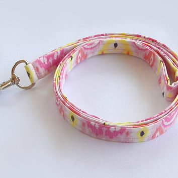 Ikat Lanyard / Hot Pink / Boho Keychain / Bohemian / Pink Ikat / Key Lanyard / Tribal / ID Badge Holder / Fabric Lanyard