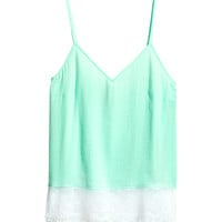 H&M - Satin Top - Light turquoise - Ladies