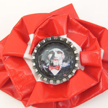 Saw / Jigsaw Duct Tape Hair Clip by PyrateWench on Etsy