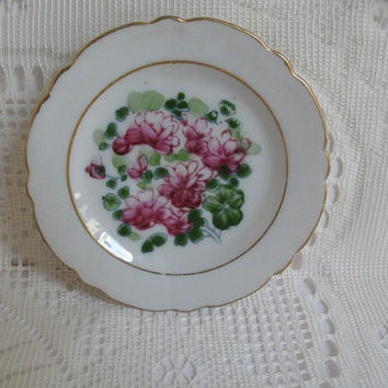 Miniature Plate Vintage Porcelain Plate Made in Japan Pink Flowers Cottage Decor