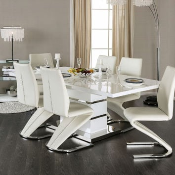 Furniture of america CM3650T-7PC 7 pc Midvale modern style white high gloss dining table set