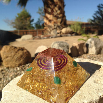 Flat Top Orgonite Pyramid with Quartz Crystal, Selenite, Amazonite, copper pyramid, sacred geometry, spiritual art