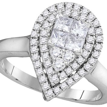 14kt White Gold Womens Princess Round Diamond Teardrop Bridal Wedding Engagement Ring 5/8 Cttw