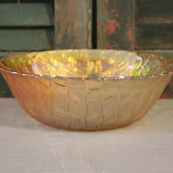 Indiana Glass marigold iridescent carnival glass basket weave bowl, candy bowl, fruit bowl, serving bowl, decorative bowl