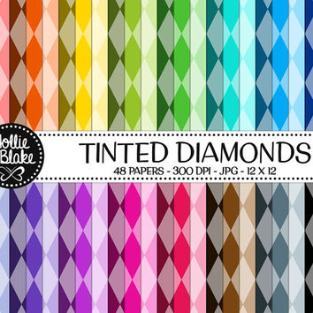 50% OFF! 48 Tinted Diamond Digital Paper • Rainbow Digital Paper • Commercial Use • Instant Download • #DIAMONDS-129-TINT