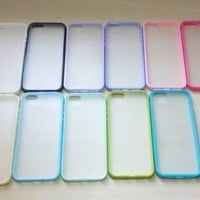 For Apple iPhone 5 / 5S Silicone Bumper & Frosted Hard Plastic Case