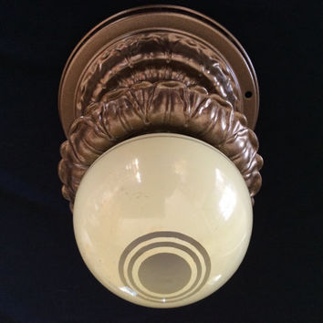 Vintage Single Ceiling Light Fixture Art Deco 1930s