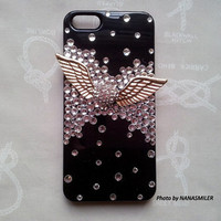 Luxurious Bling ANGEL WING metal rhinestone 3D CASE for iPhone 5, black, Smartphone Cover