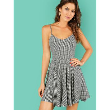 Gingham Print A Line Dress with Lace Up Back