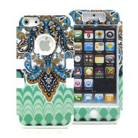 New 3-Piece Butterfly Tribal Tribe Pattern High Impact Hybrid Combo Hard Case Cover for iPhone 5 5G 5TH White