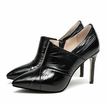 Women's High Heels Shoes Genuine Leather Deep Pumps Zip Pleated Pointed Toe Booties