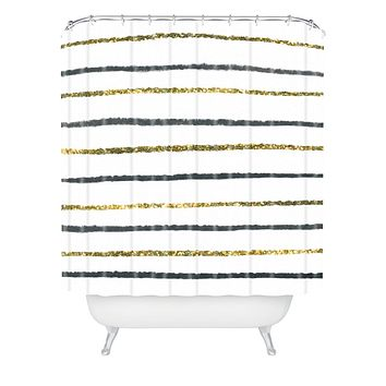 Social Proper Golden Black Shower Curtain