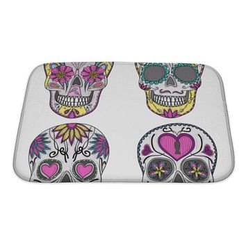 Bath Mat, Mexican Skull Set Colorful Skulls With Flower And Heart Ornamens Sugar Skulls