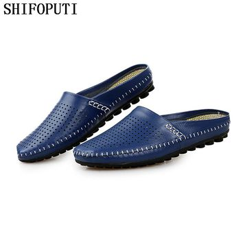 2017 New Summer Fashion Leather Men Flat Shoes British Casual Half Slippers Flip Flops Breathable Navy Studded Penny Loafers