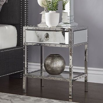 Carter Riveted Stainless-Steel Mirrored Accent Table by iNSPIRE Q Bold | Overstock.com Shopping - The Best Deals on Coffee, Sofa & End Tables