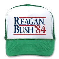 Reagan Bush 84 1984 vintage retro campaign Trucker Hat from Zazzle.com