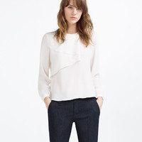 BLOUSE WITH FRILL AND SNAP CLOSURE