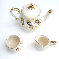 Cream and Gold Sadler Teapot Set, Sugar and Creamer Set, English Tea Set, Sadler England Ceramic Tea Pot, English Tea Party Set