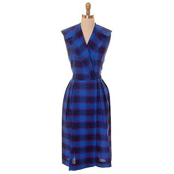 Vintage Blue Cotton Plaid Ombre Day Dress 1950s 40-32-42