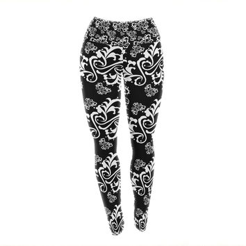 "Mydeas ""Sweetheart Damask Black & White"" Pattern Yoga Leggings"