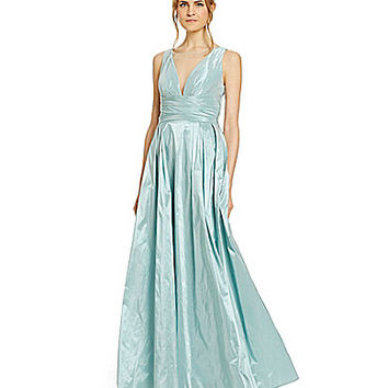 Aidan Mattox Illusion Taffeta Ball Gown - Ocean