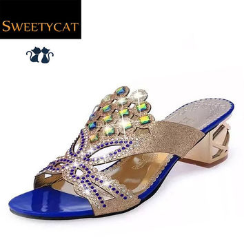 new womens sandals high heel sandals female slippers fashion rhinestone cutout women's summer shoes woman flat sandal