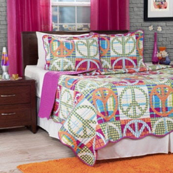 Lavish Home 3-piece Pink Melon Abstract Peace Sign Quilt Set                                          abstract twin quiltBeautiful Lightweight Quilt Very NicegoodPeace-Love-Happiness