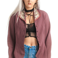 Vintage 90's Mauve-elouse Beaded Jacket - M
