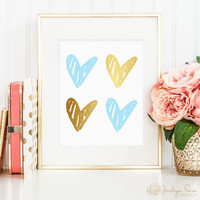 Gold foil hearts, blue hearts, 4 hearts, hand drawn, printable wall art decor, love art, faux gold foil, instant digital download JPG)