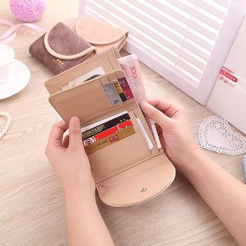 Women PU Leather Trifold Wallet Purse Cute Coin Bags