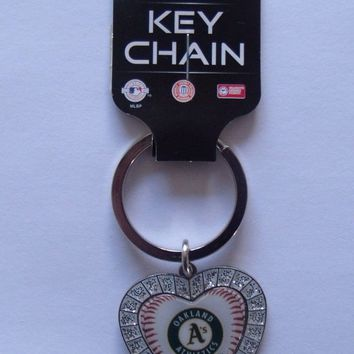 MLB Oakland Athletics Oakland A's Bling Rhinestone Heart Keychain Keyring Womens