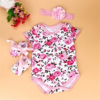 Baby Girls Floral Onesuit, Headband, and Crib Shoes 3 pc. Set