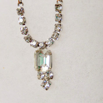 14 inch Necklace with Combination of Chain and Rhinestone Sections