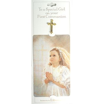 Club Pack of 24 First Communion Girl Cross Pins With Prayer Card #40109