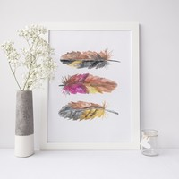 Watercolor Tri Feather Pink Wall Art Print