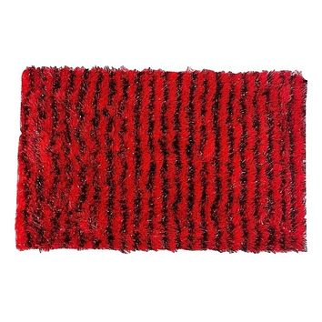 "Shaggy Plush Soft Spooky Halloween Holiday Carpet Door Mat Stripe Red & Black Print Motif Decor - 20"" x 32"""