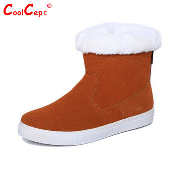 Size 35-40 Russia Winter Warm Thickened Fur Women Flat Half Short Ankle Snow Boots Cotton Winter Footwear Boot Shoes
