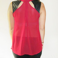 Sheer Cut Out Top with Faux Leather Trim