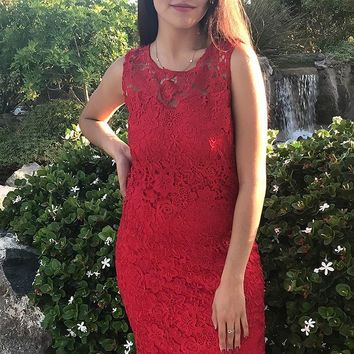 Wishful Wanderings Red Crochet Lace Shift Midi Dress