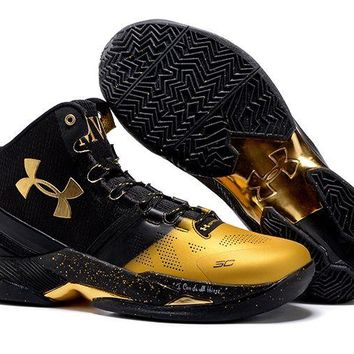 Jacklish New Under Armour Curry 2 Mvp Black Gold On Sale