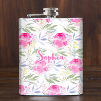 Floral flask for woman, 21st birthday gift for her, bridesmaids gifts, ladies flask, girls flask, FREE PERSONALIZATION