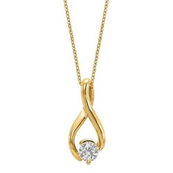 "14k Yellow Gold 5.00mm Round Moissanite Chain Slide Infinity Pendant 18"" Necklace"