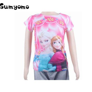 Toddlers Children Girls T-shirt Tops and Blouse Girl Baby t shirt Anna Elsa Shirts Elza Tee jurk Costume for Kids Clothes C
