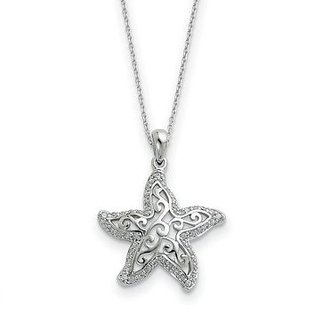 Rhodium Sterling Silver & CZ Make a Difference Starfish Necklace, 18in