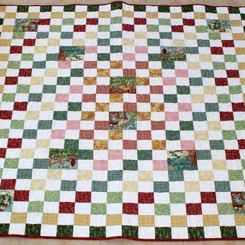 Lap Quilt, Throw blanket, Toddler quilt in red, green, yellow and white with cute panel blocks