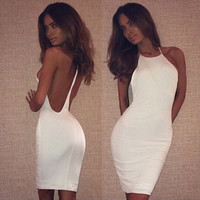 White Halter Backless Casual Bodycon Dress