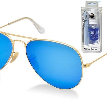 Ray Ban RB3025 112/17 58mm Blue Mirror Aviator Sunglasses Bundle - 2 Items