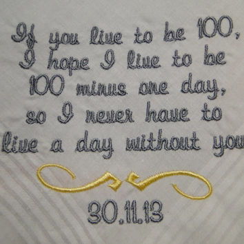 Personalized gift to groom from Bride embroidered wedding men's handkerchief with gift box