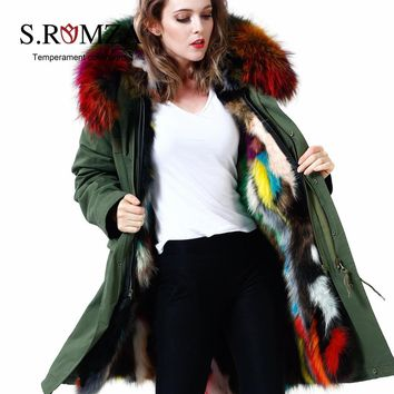 S.ROMZA Large Raccoon Fur Collar Women Real Raccoon Fur Parka Upscale Long Hooded Coat Detachable Jacket Real Fur Liner Jacket