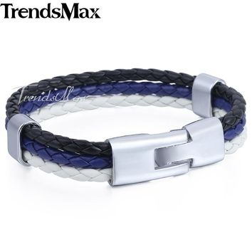 Trendsmax Blue Police Lives Matter Leather Bracelet Boys Mens Leather Surfer Jewelry Black Dark Blue White KLB694